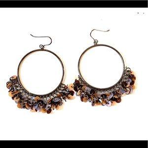 Sequins hoop dangle earrings